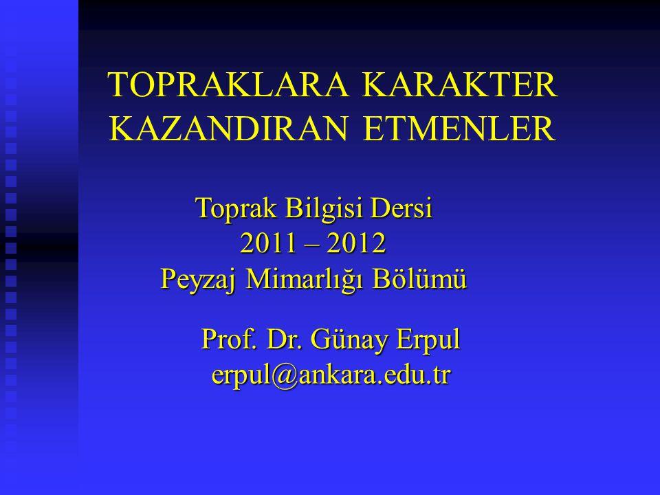 TOPRAKLARA KARAKTER KAZANDIRAN ETMENLER Toprak Bilgisi Dersi 2011 – 2012 Peyzaj Mimarlığı Bölümü Prof. Dr. Günay Erpul erpul@ankara.edu.tr