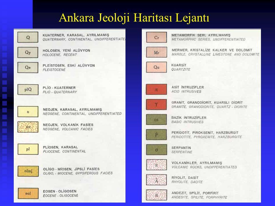 Ankara Jeoloji Haritası Lejantı
