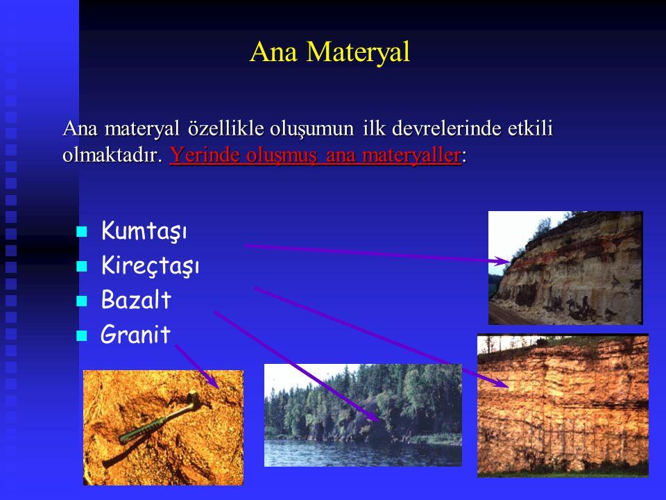 Ana Materyal Ana materyal özellikle oluşumun ilk devrelerinde etkili olmaktadır. Yerinde oluşmuş ana materyaller: n Kumtaşı n Kireçtaşı n Bazalt n Gra