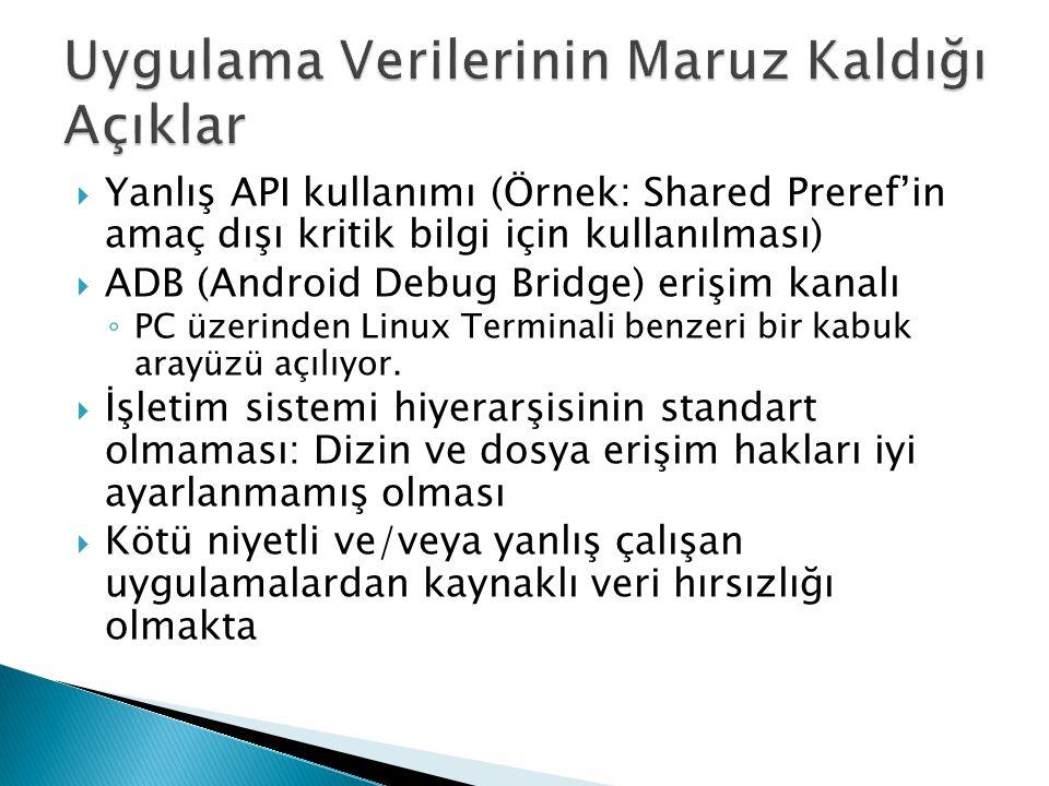  Yanlış API kullanımı (Örnek: Shared Preref'in amaç dışı kritik bilgi için kullanılması)  ADB (Android Debug Bridge) erişim kanalı ◦ PC üzerinden Li