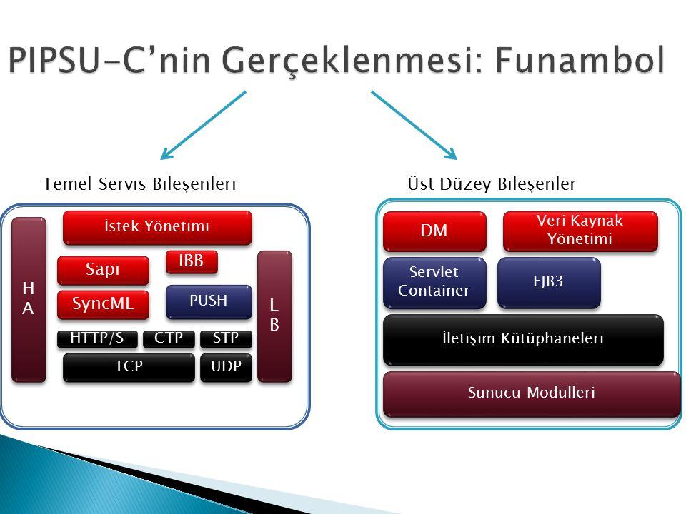 DM Veri Kaynak Yönetimi Servlet Container EJB3 Sunucu Modülleri Üst Düzey Bileşenler HAHA HAHA LBLB LBLB SyncML IBB İstek Yönetimi PUSH HTTP/S CTP STP