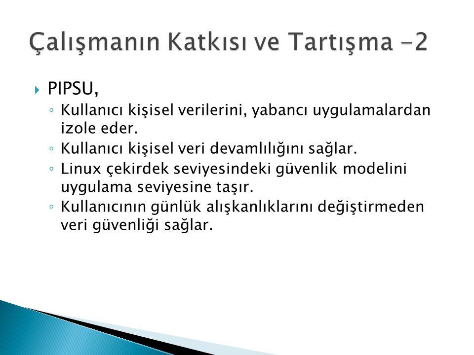  PIPSU, ◦ Kullanıcı kişisel verilerini, yabancı uygulamalardan izole eder. ◦ Kullanıcı kişisel veri devamlılığını sağlar. ◦ Linux çekirdek seviyesind