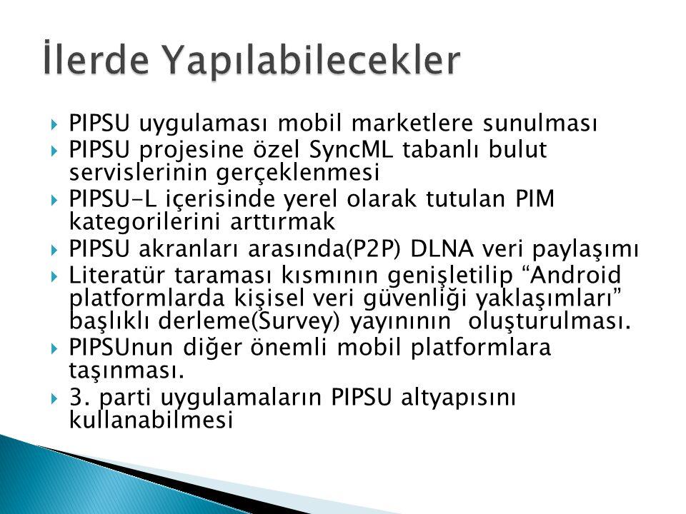  PIPSU uygulaması mobil marketlere sunulması  PIPSU projesine özel SyncML tabanlı bulut servislerinin gerçeklenmesi  PIPSU-L içerisinde yerel olara
