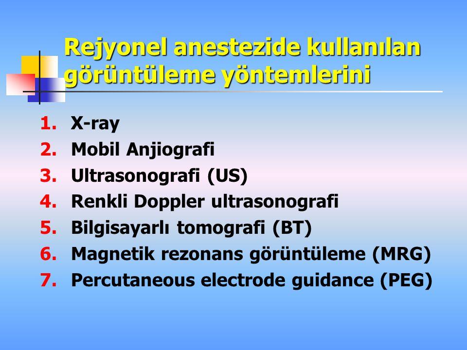 Rejyonel anestezide kullanılan görüntüleme yöntemlerini 1.X-ray 2.Mobil Anjiografi 3.Ultrasonografi (US) 4.Renkli Doppler ultrasonografi 5.Bilgisayarlı tomografi (BT) 6.Magnetik rezonans görüntüleme (MRG) 7.Percutaneous electrode guidance (PEG)