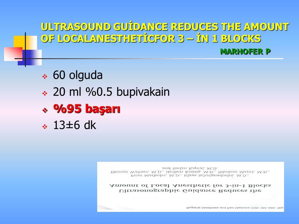 ULTRASOUND GUİDANCE REDUCES THE AMOUNT OF LOCALANESTHETİCFOR 3 – İN 1 BLOCKS MARHOFER P  60 olguda  20 ml %0.5 bupivakain  %95 başarı  13±6 dk