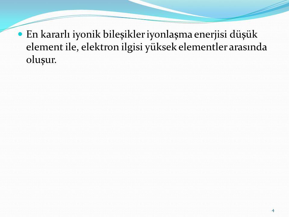 En kararlı iyonik bileşikler iyonlaşma enerjisi düşük element ile, elektron ilgisi yüksek elementler arasında oluşur. 4