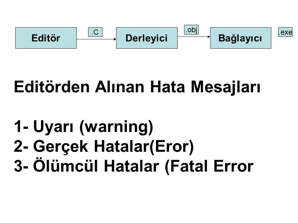 EditörDerleyiciBağlayıcı.C.obj.exe Editörden Alınan Hata Mesajları 1- Uyarı (warning) 2- Gerçek Hatalar(Eror) 3- Ölümcül Hatalar (Fatal Error