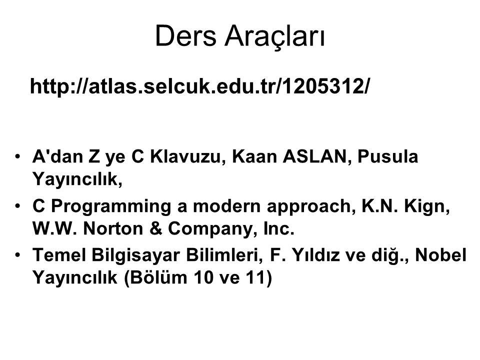Ders Araçları A'dan Z ye C Klavuzu, Kaan ASLAN, Pusula Yayıncılık, C Programming a modern approach, K.N. Kign, W.W. Norton & Company, Inc. Temel Bilgi