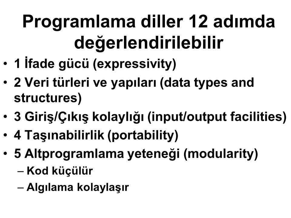 Programlama diller 12 adımda değerlendirilebilir 1 İfade gücü (expressivity) 2 Veri türleri ve yapıları (data types and structures) 3 Giriş/Çıkış kola
