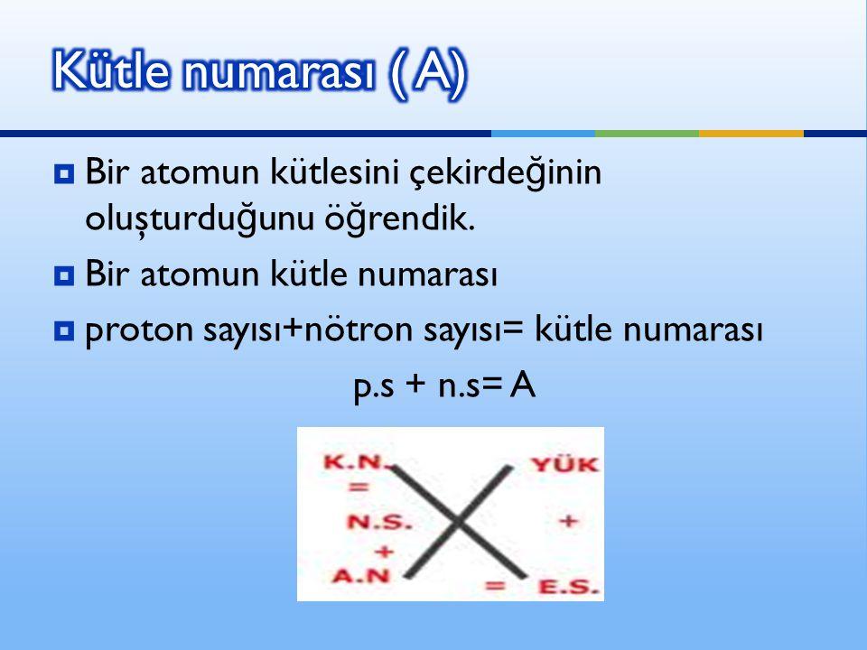  Bir atomun kütlesini çekirde ğ inin oluşturdu ğ unu ö ğ rendik.