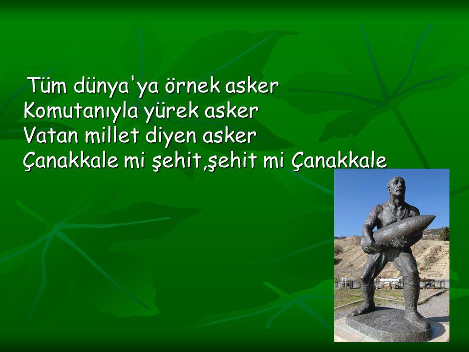 Tüm dünya'ya örnek asker Komutanıyla yürek asker Vatan millet diyen asker Çanakkale mi şehit,şehit mi Çanakkale