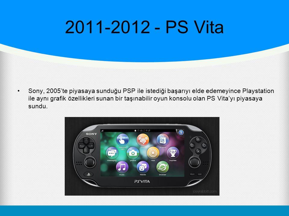 2011-2012 - PS Vita Sony, 2005'te piyasaya sunduğu PSP ile istediği başarıyı elde edemeyince Playstation ile aynı grafik özellikleri sunan bir taşınab