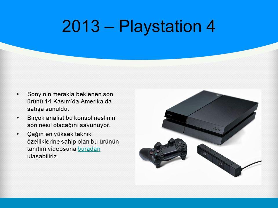 2013 – Playstation 4 Sony'nin merakla beklenen son ürünü 14 Kasım'da Amerika'da satışa sunuldu. Birçok analist bu konsol neslinin son nesil olacağını