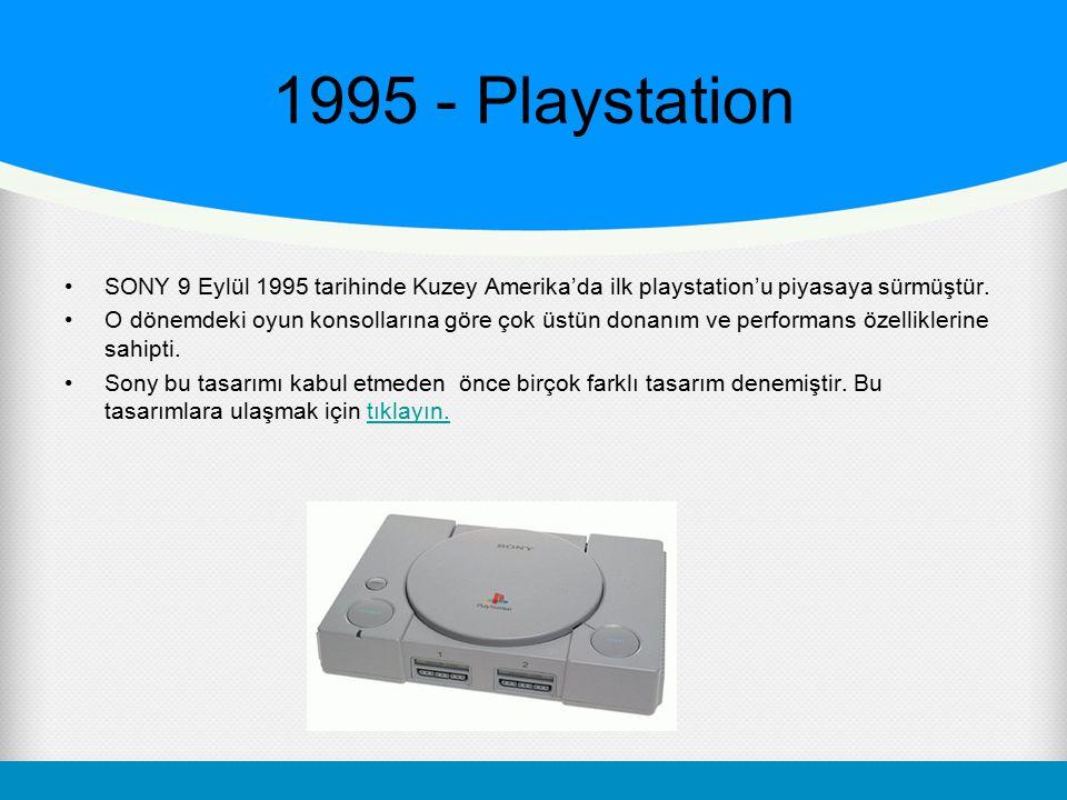 1995 - Playstation SONY 9 Eylül 1995 tarihinde Kuzey Amerika'da ilk playstation'u piyasaya sürmüştür. O dönemdeki oyun konsollarına göre çok üstün don