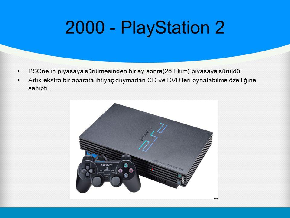 2000 - PlayStation 2 PSOne'ın piyasaya sürülmesinden bir ay sonra(26 Ekim) piyasaya sürüldü. Artık ekstra bir aparata ihtiyaç duymadan CD ve DVD'leri