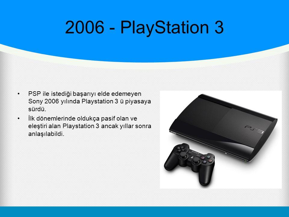 2006 - PlayStation 3 PSP ile istediği başarıyı elde edemeyen Sony 2006 yılında Playstation 3 ü piyasaya sürdü. İlk dönemlerinde oldukça pasif olan ve