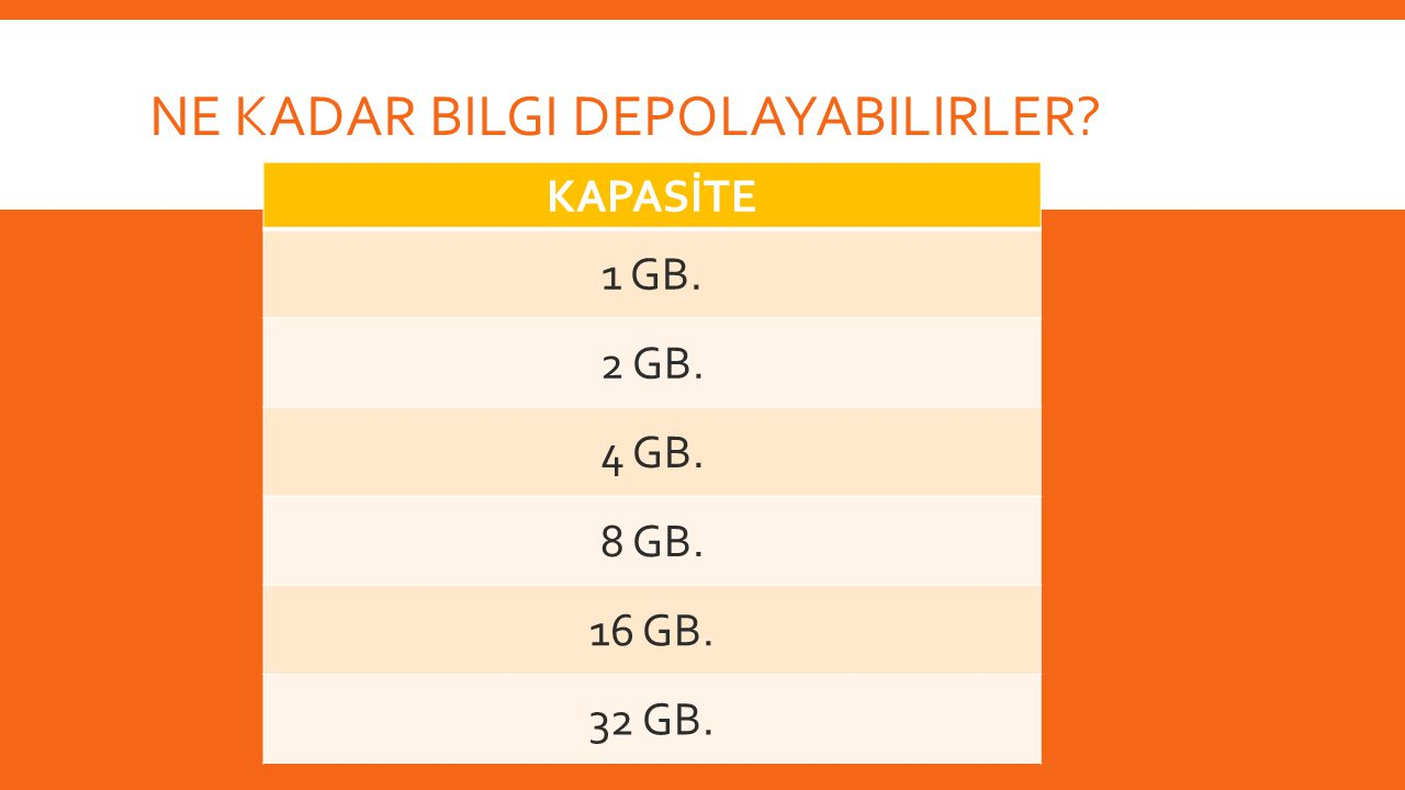 NE KADAR BILGI DEPOLAYABILIRLER? KAPASİTE 1 GB. 2 GB. 4 GB. 8 GB. 16 GB. 32 GB.