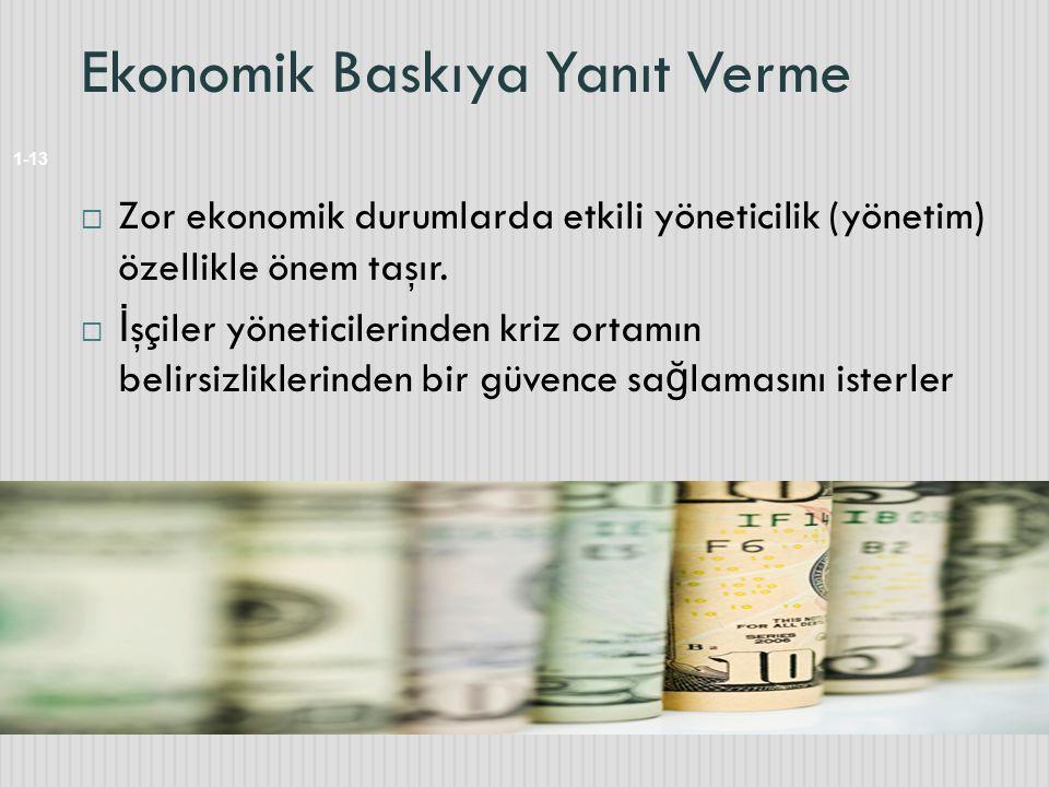 Ekonomik Baskıya Yanıt Verme 1-13  Zor ekonomik durumlarda etkili yöneticilik (yönetim) özellikle önem taşır.  İ şçiler yöneticilerinden kriz ortamı