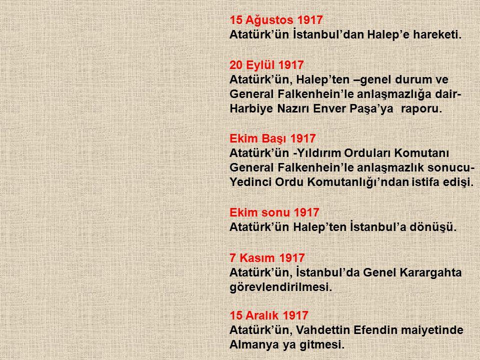 15 Ağustos 1917 Atatürk'ün İstanbul'dan Halep'e hareketi. 20 Eylül 1917 Atatürk'ün, Halep'ten –genel durum ve General Falkenhein'le anlaşmazlığa dair-