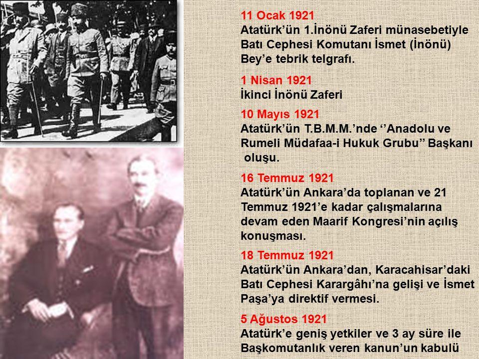 11 Ocak 1921 Atatürk'ün 1.İnönü Zaferi münasebetiyle Batı Cephesi Komutanı İsmet (İnönü) Bey'e tebrik telgrafı. 1 Nisan 1921 İkinci İnönü Zaferi 10 Ma