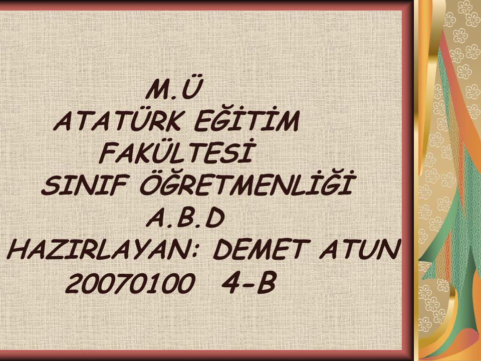 M.Ü ATATÜRK EĞİTİM FAKÜLTESİ SINIF ÖĞRETMENLİĞİ A.B.D HAZIRLAYAN: DEMET ATUN 20070100 4-B