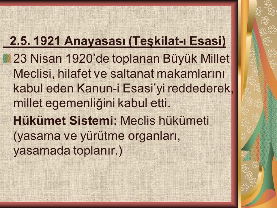2.5. 1921 Anayasası (Teşkilat-ı Esasi) 23 Nisan 1920'de toplanan Büyük Millet Meclisi, hilafet ve saltanat makamlarını kabul eden Kanun-i Esasi'yi red