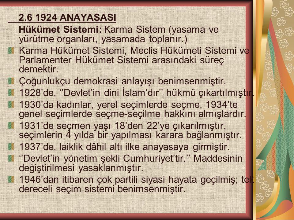 2.6 1924 ANAYASASI Hükümet Sistemi: Karma Sistem (yasama ve yürütme organları, yasamada toplanır.) Karma Hükümet Sistemi, Meclis Hükümeti Sistemi ve P