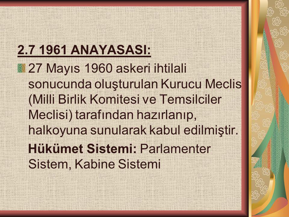 2.7 1961 ANAYASASI: 27 Mayıs 1960 askeri ihtilali sonucunda oluşturulan Kurucu Meclis (Milli Birlik Komitesi ve Temsilciler Meclisi) tarafından hazırl