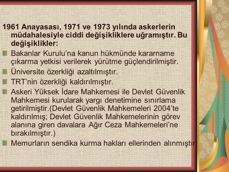 1961 Anayasası, 1971 ve 1973 yılında askerlerin müdahalesiyle ciddi değişikliklere uğramıştır. Bu değişiklikler: Bakanlar Kurulu'na kanun hükmünde kar
