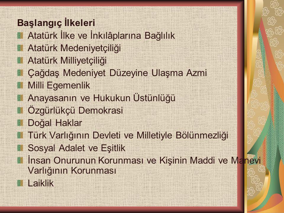 Başlangıç İlkeleri Atatürk İlke ve İnkılâplarına Bağlılık Atatürk Medeniyetçiliği Atatürk Milliyetçiliği Çağdaş Medeniyet Düzeyine Ulaşma Azmi Milli E
