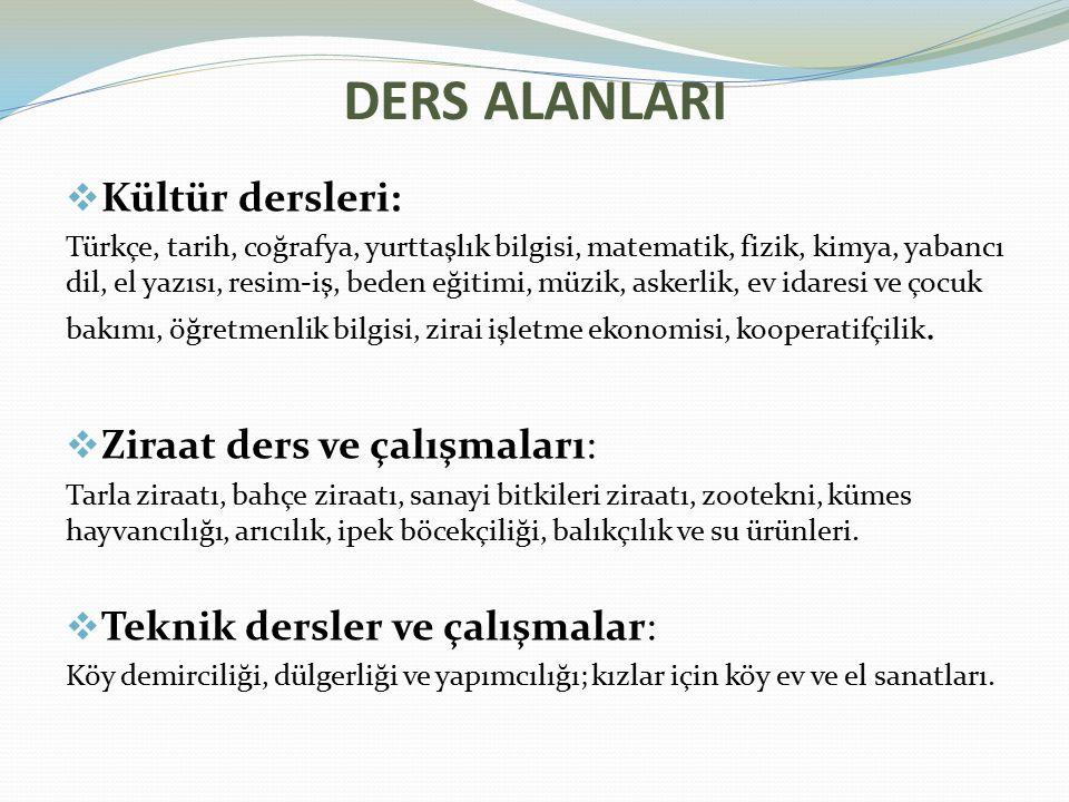 DERS ALANLARI  Kültür dersleri: Türkçe, tarih, coğrafya, yurttaşlık bilgisi, matematik, fizik, kimya, yabancı dil, el yazısı, resim-iş, beden eğitimi