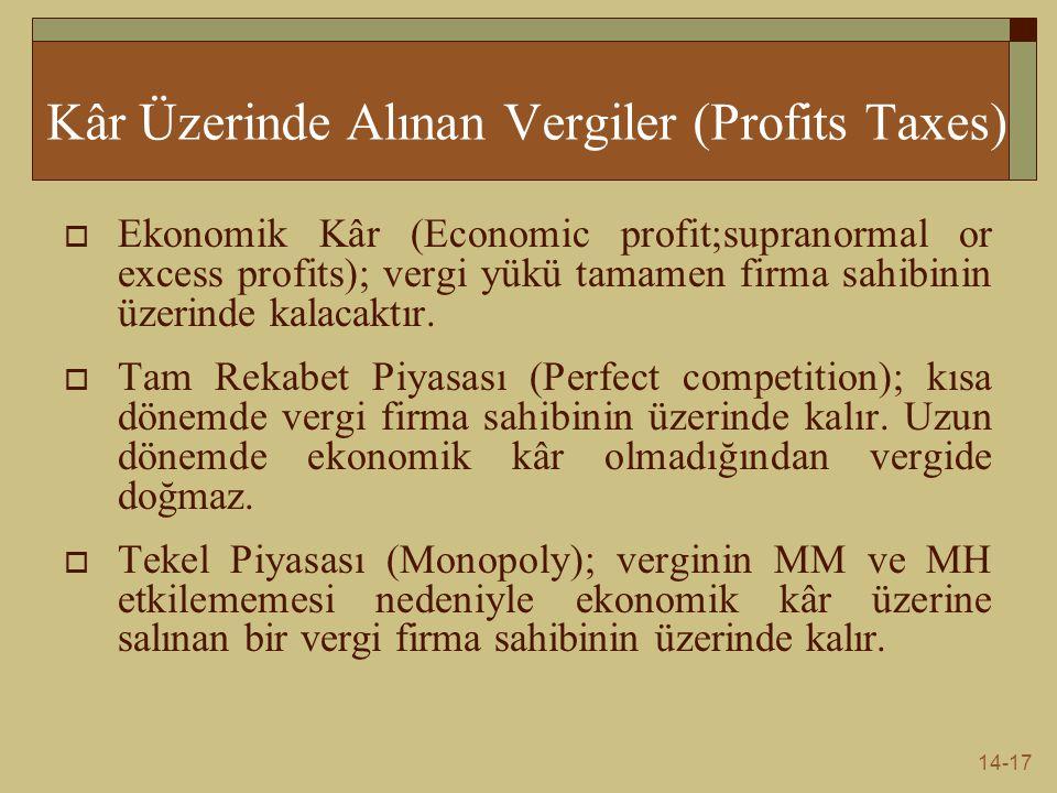 14-17 Kâr Üzerinde Alınan Vergiler (Profits Taxes)  Ekonomik Kâr (Economic profit;supranormal or excess profits); vergi yükü tamamen firma sahibinin