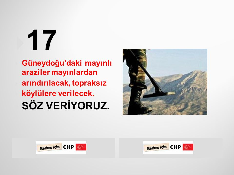  CHP, Doğu ve Güneydoğu Anadolu bölgelerinin  refah düzeyinin ülke ortalamasını yakalaması  için devlet öncülüğünde yeterli kaynağın bu  bölgelere aktarımını sağlayacaktır.