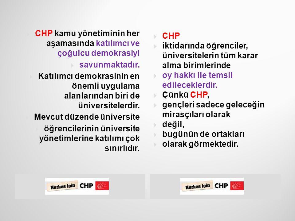  22  Üniversite yönetimlerinde gençlere söz hakkı verilecek, karar sürecine katılmaları sağlanacak.