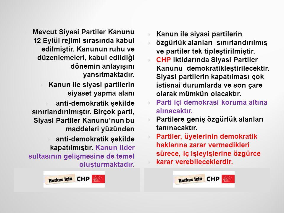  25  Siyasi Partiler Yasası  demokratikleştirilecek,  lider sultasına son  verilecek.