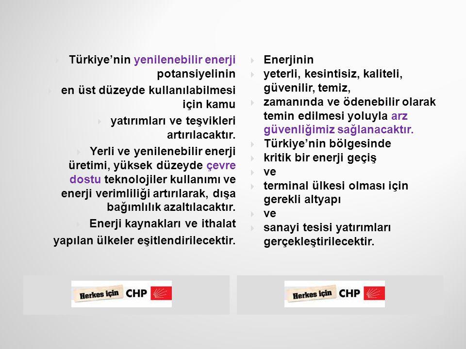  37  Yenilenebilir enerji  kaynaklarına öncelik  verilecek, Türkiye  enerjide dışa bağımlı  bir ülke konumundan  çıkarılacak.