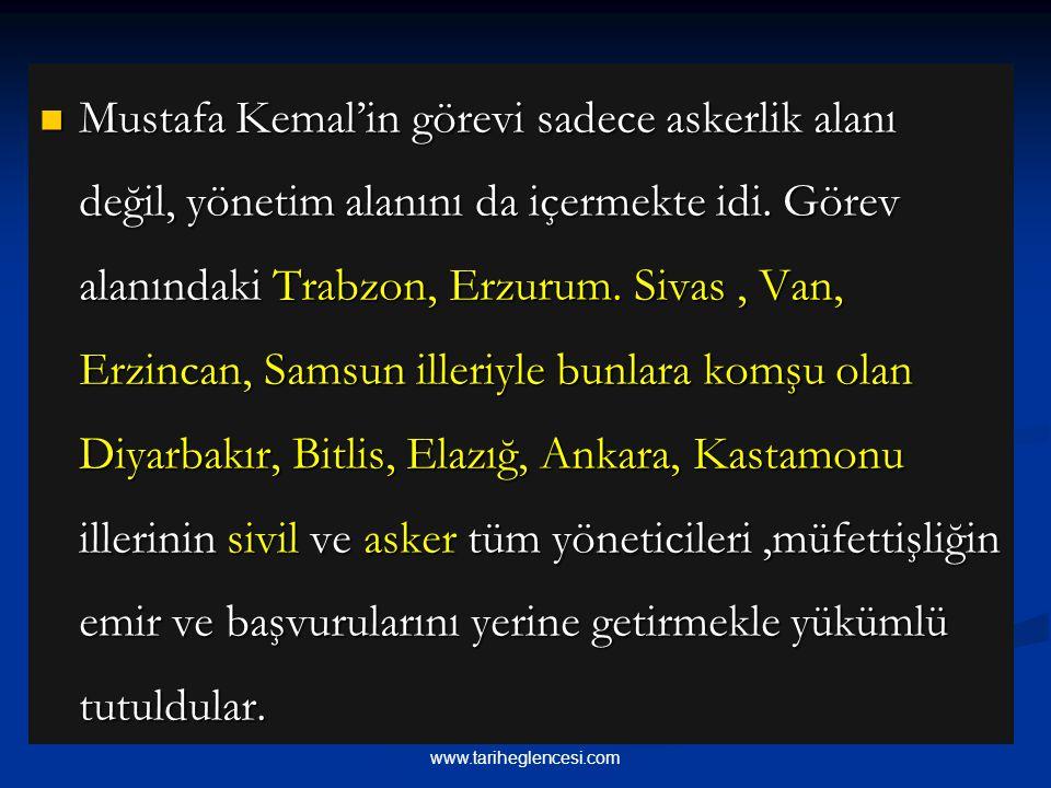 Mustafa Kemal'in görevi sadece askerlik alanı değil, yönetim alanını da içermekte idi.