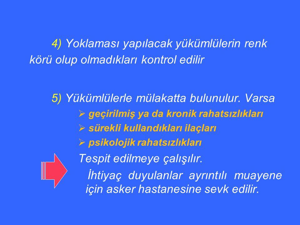 4) Yoklaması yapılacak yükümlülerin renk körü olup olmadıkları kontrol edilir 5) Yükümlülerle mülakatta bulunulur. Varsa  geçirilmiş ya da kronik rah