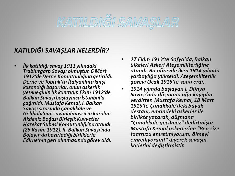 Mustafa Kemal, Çanakkale Savaşları'ndan sonra 1916'da Edirne ve Diyarbakır'da görev aldı.