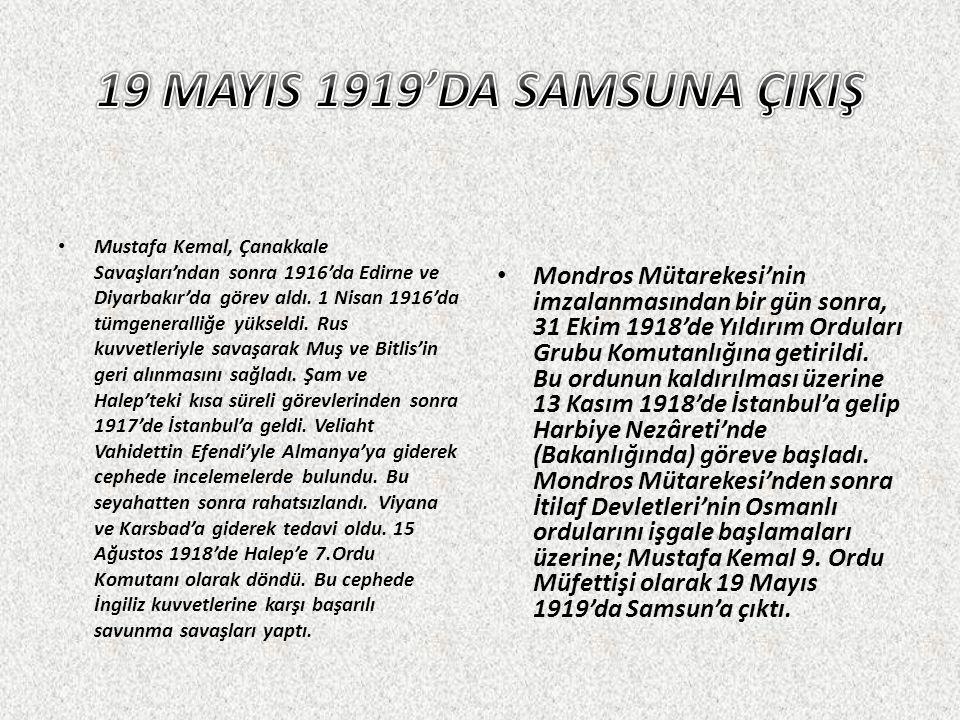 Mustafa Kemal, Çanakkale Savaşları'ndan sonra 1916'da Edirne ve Diyarbakır'da görev aldı. 1 Nisan 1916'da tümgeneralliğe yükseldi. Rus kuvvetleriyle s