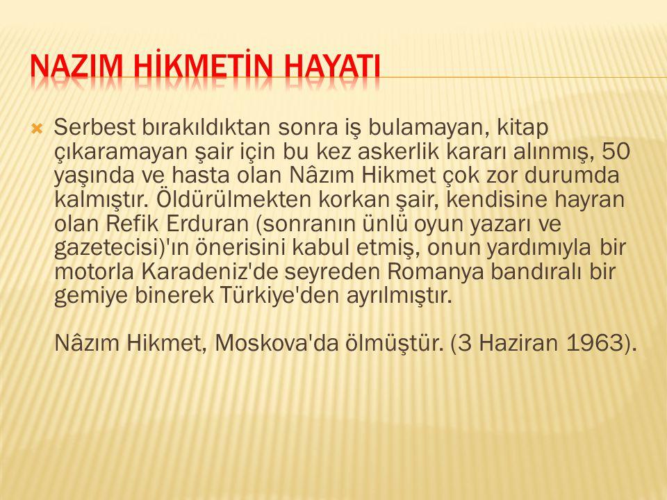  Nâzım Hikmet daha sonra İstanbul'a yerleşmiş, çeşitli gazete ve dergilerle film stüdyolarında çalışmış, ilk şiir kitaplarını çıkarmış ve oyunlarını