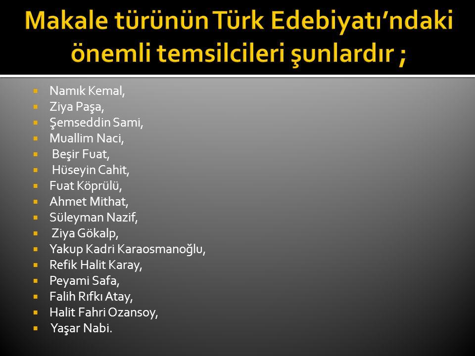  Namık Kemal,  Ziya Paşa,  Şemseddin Sami,  Muallim Naci,  Beşir Fuat,  Hüseyin Cahit,  Fuat Köprülü,  Ahmet Mithat,  Süleyman Nazif,  Ziya