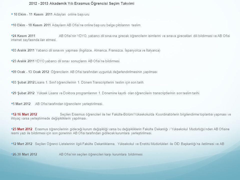 2012 - 2013 Akademik Yılı Erasmus Öğrencisi Seçim Takvimi 10 Ekim - 11 Kasım 2011 Adayları online başvuru 10 Ekim - 18 Kasım 2011 Adayların AB Ofisi ne online başvuru belge çıktılarının teslim 24 Kasım 2011AB Ofisi nin YDYO, yabancı dil sınavına girecek öğrencilerin isimlerini ve sınava girecekleri dili bildirmesi ve AB Ofisi internet sayfasında ilan etmesi.