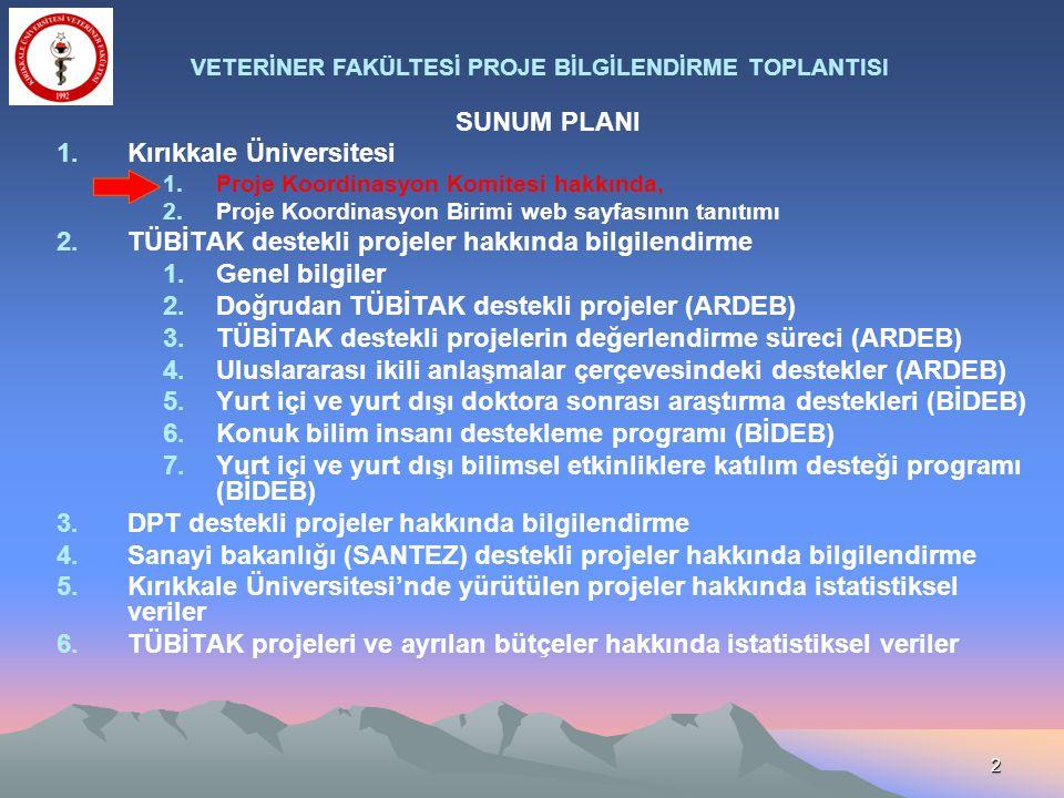 2 SUNUM PLANI 1.Kırıkkale Üniversitesi 1.Proje Koordinasyon Komitesi hakkında, 2.Proje Koordinasyon Birimi web sayfasının tanıtımı 2.TÜBİTAK destekli