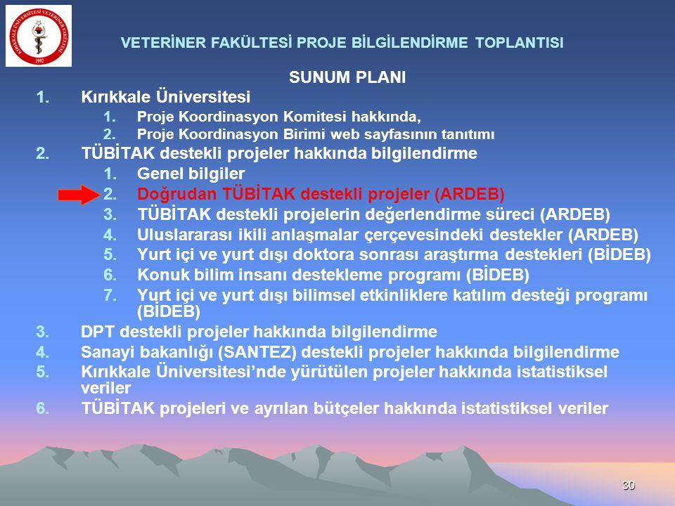 30 SUNUM PLANI 1.Kırıkkale Üniversitesi 1.Proje Koordinasyon Komitesi hakkında, 2.Proje Koordinasyon Birimi web sayfasının tanıtımı 2.TÜBİTAK destekli