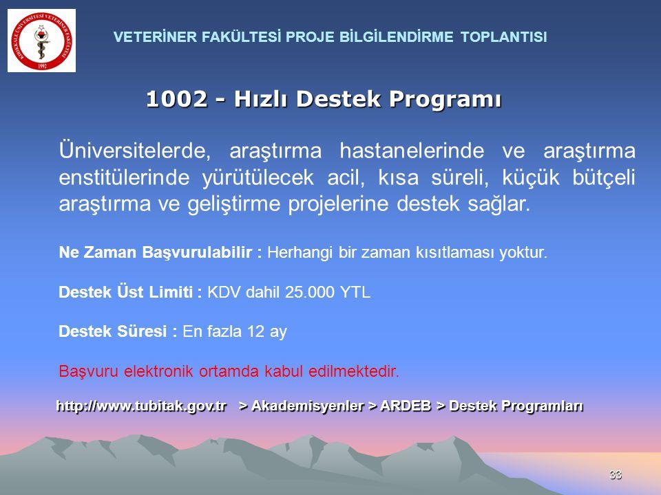 33 1002 - Hızlı Destek Programı Üniversitelerde, araştırma hastanelerinde ve araştırma enstitülerinde yürütülecek acil, kısa süreli, küçük bütçeli ara
