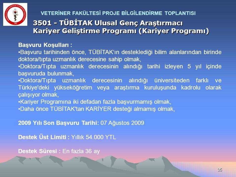 35 3501 - TÜBİTAK Ulusal Genç Araştırmacı Kariyer Geliştirme Programı (Kariyer Programı) Başvuru Koşulları : Başvuru tarihinden önce, TÜBİTAK'ın deste