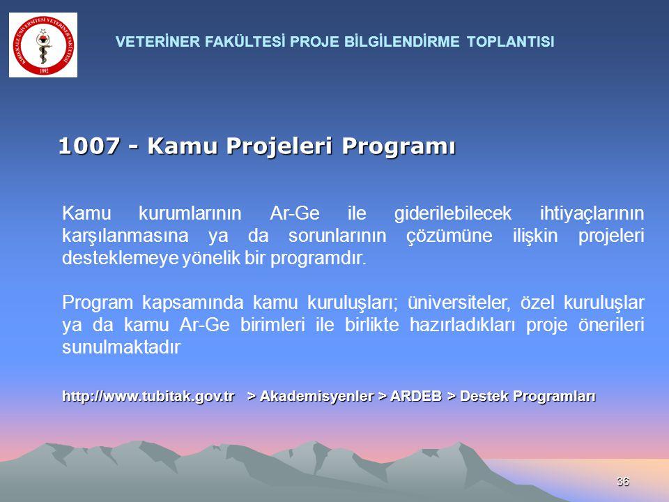 36 1007 - Kamu Projeleri Programı Kamu kurumlarının Ar-Ge ile giderilebilecek ihtiyaçlarının karşılanmasına ya da sorunlarının çözümüne ilişkin projel