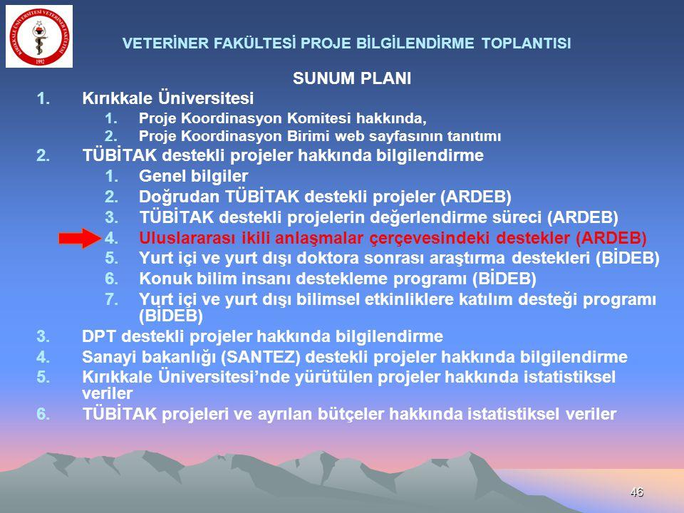 46 SUNUM PLANI 1.Kırıkkale Üniversitesi 1.Proje Koordinasyon Komitesi hakkında, 2.Proje Koordinasyon Birimi web sayfasının tanıtımı 2.TÜBİTAK destekli