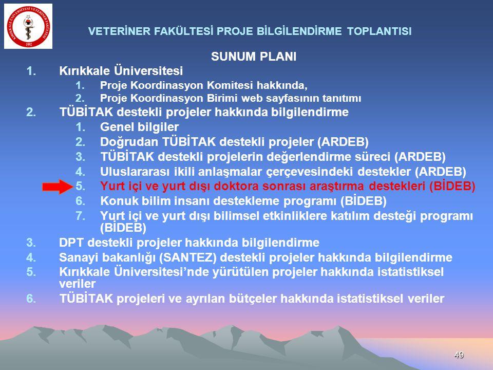 49 SUNUM PLANI 1.Kırıkkale Üniversitesi 1.Proje Koordinasyon Komitesi hakkında, 2.Proje Koordinasyon Birimi web sayfasının tanıtımı 2.TÜBİTAK destekli